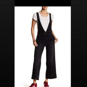 Free People wide legged black overalls